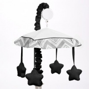 Black and Grey Zig Zag Musical Baby Crib Mobile by Sweet Jojo Designs