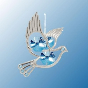 Hanging Sun Catcher or Ornament..... Dove With Blue. Austrian Crystals