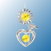Hanging Sun Catcher or Ornament..... Sunflower in Yellow. Austrian Crystals