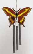Chrome Plated Wind Chime Sun Catcher or Ornament..... Epoxy Butterfly