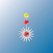 Hanging Sun Catcher or Ornament..... Sunburst in Red. Austrian Crystals