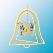 24K Gold Plated Hanging Sun Catcher or Ornament..... Butterfly with Blue. Austrian Crystals in a Bell