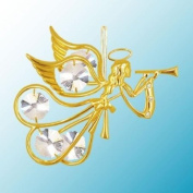 24K Gold Plated Hanging Sun Catcher or Ornament..... Flying Angel Holding a Trumpet with Clear. Austrian Crystal