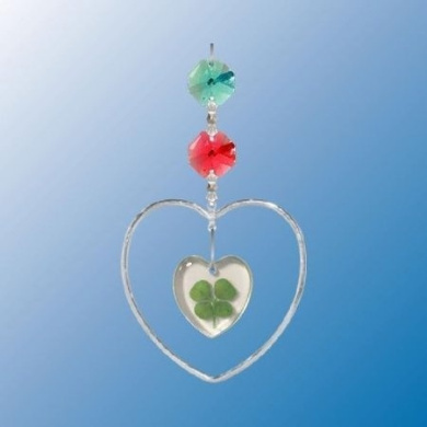 Chrome Plated Heart with Heart Four Leaf Clover ... Hanging Sun Catcher or Ornament..... With Colour. Austrian Crystal