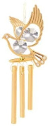 24K Gold Plated Wind Chime Sun Catcher or Ornament..... Dove With Clear. Austrian Crystal