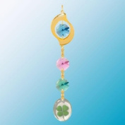 24K Gold Plated Hanging Sun Catcher or Ornament..... Leaf Icon Hanging Charm With Round Shaped Four Leaf Clover & Green. Austrian Crystals