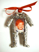 2012 Baby Boy Photo Christmas Ornament Pewter with Sapphire colour Austrian Crytals MADE IN USA