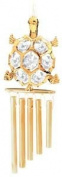 24K Gold Plated Wind Chime Sun Catcher or Ornament..... Turtle With Clear. Austrian Crystal