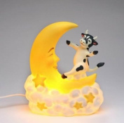 16.5cm Black and White Cow Jumping Over the Moon Nightlight