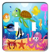 Ocean Wonders Sea Life Double Toggle Light Switchplate Cover