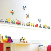 Cars Aeroplanes Construction Trucks Wall Sticker Decal for Baby Nursery Kids Room