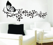 WallStickersUSA Wall Sticker Decal, Butterfly and Tribal Flowers, Large