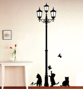 1 X Black Cat Design Picture Art Peel & Stick Wall Sticker DIY Vinyl Wall Decal Applique 33x60cm