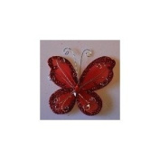24 Red Organza Nylon Wire Butterfly Wedding Arts and Crafts Decorations 5.1cm Big