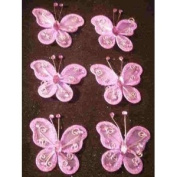 24 Lavender Organza Nylon Wire Butterfly Wedding Arts and Crafts Decorations 5.1cm Big
