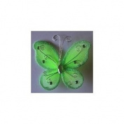 24 Apple Green Organza Nylon Wire Butterfly Wedding Arts and Crafts Decorations 5.1cm Big