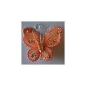 24 Orange Organza Nylon Wire Butterfly Wedding Arts and Crafts Decorations 5.1cm Big