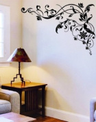 WallStickersUSA Wall Sticker Decal, Tribal Black Flower