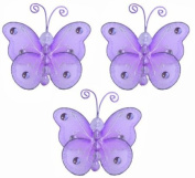 7.6cm Purple Mini (X-Small) Wire Bead Butterfly Butterflies 3pc set - hanging nylon nursery bedroom girls room ceiling wall decor, wedding birthday party baby bridal shower