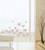 Jiniy FLOWER & BUTTERFLY Kids Wall Decals Deco Mural Sticker