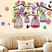 Holiday Decoration Wall Decor Removable Decal Sticker - Colourful Birds & Birdcages in Tree Branch