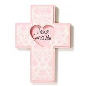 Baby Blessings Wall Cross - Jesus Loves Me - Girl