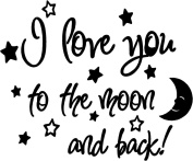 I love you to the moon and back again! cute baby nursery wall art wall sayings