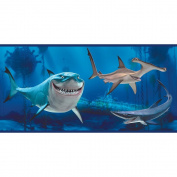 Imperial Disney Home DF059231B Finding Nemo Shark Border, Blue, 26cm Wide