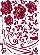 FLOWER & BIRD VELVET Wall Art Deco Mural Sticker