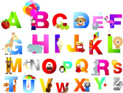 Kid's Alphabets sticker set (26pcs) educational - Removable Decoration Wall Decal. cute wall art wall quote wall saying