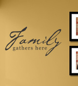 family gathers here vinyl Wall Decals Quotes Sayings Words Art Decor Lettering vinyl wall art inspirational uplifting