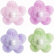 Shimmer Daisy Flowers Decor 4 piece Flower Set (Pink, Dark Pink, Purple and Green) - hanging flowers nylon daisies girls room baby nursery bedroom wall ceiling decor bridal baby shower birthday party wedding flower favour craft decoration
