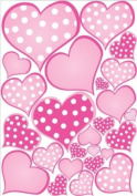 Pink Pastel Polka Dot Heart Wall Decals Stickers