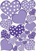 Purple Pastel Polka Dot Heart Wall Decals Stickers