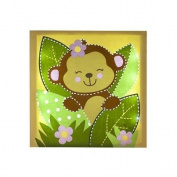 Little Boutique Light up Canvas Wall Art - Girl Monkey