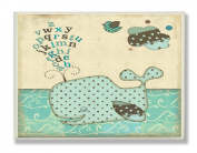 The Kids Room Square Wall Decor, Whale with Alphabet Green