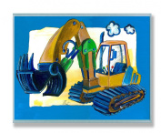 The Kids Room Rectangle Wall Decor, Yellow/Blue Excavator