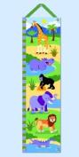 Wild Animals Hanging Growth Chart w Green Ribbon