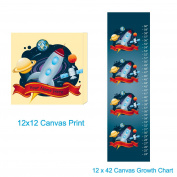 Space Themed Nursery Personalised Canvas Wall Art Set- Package Includes 30.5cm x30.5cm Canvas Frame and Canvas Growth Chart