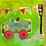 Oopsy daisy Get Movin' Race Car Canvas Wall Art by Winborg Sisters, 35.6cm by 35.6cm