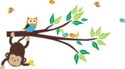 Baby Nursery Wall Decals Safari Jungle Childrens Themed 99.1cm X 55.9cm (Inches) Animals Trees Monkeys Owls Wildlife Made of Seramark Material Repositional Removable Reusable