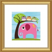 Barewalls Wall Decor, Elephant with Three Owls