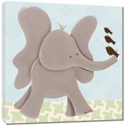 Doodlefish Gallery-Wrapped 45.7cm x45.7cm Wall Art, Ellis Elephant