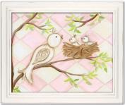 Doodlefish Framed 18'x38.1cm Wall Art, Bird Pink Diamond