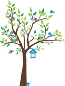 Baby Nursery Wall Decals Childrens Themed 203.2cm X 147.3cm (Inches) Animals Trees Owls Birdhouse Wildlife Made of Seramark Material Repositional Removable Reusable