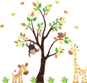 Baby Nursery Wall Decals Safari Jungle Children's Themed 160cm X 144.8cm (Inches) Animals Trees Monkey Zebras Giraffes Wildlife Made of Seramark Material Repositional Removable Reusable