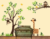 Baby Nursery Wall Decals Safari Jungle Children's Themed 210.8cm X 266.7cm (Inches) Animals Trees Monkey Giraffes Wildlife Made of Seramark Material Repositional Removable Reusable