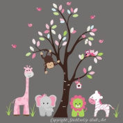 Baby Nursery Wall Decals Safari Jungle Childrens Themed 215.9cm X 241.3cm (Inches) Animals Trees Monkey Elephant Giraffe Lions Zebras Wildlife Made of Seramark Material Repositional Removable Reusable