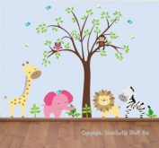 Baby Nursery Wall Decals Safari Jungle Childrens Themed 213.4cm X 276.9cm (Inches) Animals Trees Owls Giraffe Elephants Lions Zebra Owls Wildlife Made of Seramark Material Repositional Removable Reusable