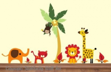 Baby Nursery Wall Decals Safari Jungle Childrens Themed 177.8cm X 299.7cm (Inches) Animals Trees Monkey Elephant Lion Tiger Wildlife Made of Seramark Material Repositional Removable Reusable